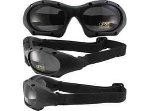 Pacific Coast Sunglasses Dominator Sports Motorcycle Goggles Matte Black Frames Smoke Lenses