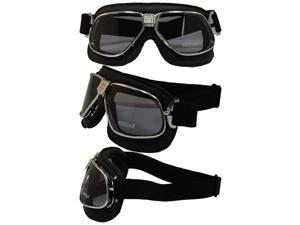 Pacific Coast Sunglasses Nannini Cruiser Hand-Sewn Padded Black Leather Motorcycle Goggles Silver Frames Smoke Lenses