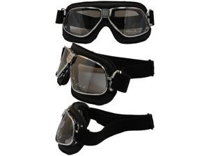 Nannini Cruiser Padded Motorcycle Goggles Hand-Sewn Black Leather and Chrome Frames Clear Anti-Fog Lenses