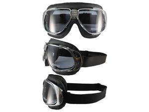 Pacific Coast Sunglasses Nannini Rider Padded Motorcycle Goggles Hand-Sewn Black Leather/Chrome Frames Smoke Anti-Fog Lenses