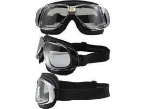 Pacific Coast Sunglasses Nannini Rider Padded Motorcycle Goggles Hand-Sewn Black Leather/Chrome Frames Clear Anti-Fog Lenses