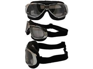 Pacific Coast Sunglasses Nannini Rider Padded Motorcycle Goggles Hand-Sewn Black Leather/Chrome Frames Clear Mirror Anti-Fog Lenses