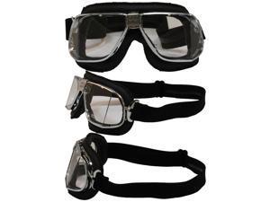 Pacific Coast Sunglasses Nannini Custom Padded Motorcycle Goggles Hand-Sewn Black Leather/Chrome Frames Clear Anti-Fog Lenses