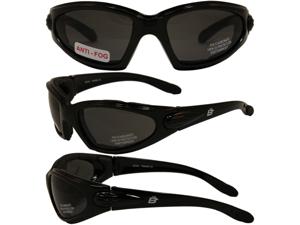 Birdz Quail Motorcycle Glasses with Smoke Shatterproof Anti-Fog Polycarbonate Lenses and Wind Blocking Foam