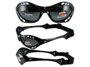 Birdz Seahawk Floating Polarized Sunglasses with Built-In Strap (Black Frame/Smoke Lenses)