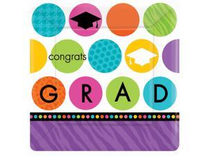 Colorful Commencement Graduation Square Dessert Plates - Paper