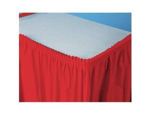 Classic Red (Red) Plastic Table Skirt - plastic