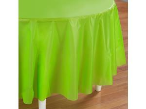 Fresh Lime (Lime Green) Round Tablecover - plastic