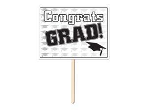 Congrats Grad Yard Sign - Black - Paper, Wood