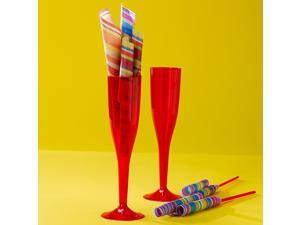 Red 5.5 Oz. Premium Plastic Champagne Flutes - Polystyrene