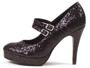 Black Glitter Jane Adult Shoes - All Man Made Material - 8