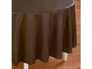 Chocolate Brown (Brown) Round Plastic Tablecover - plastic