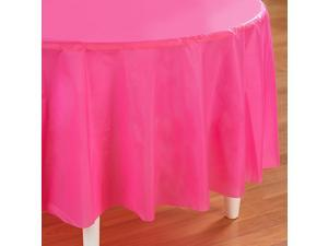 Candy Pink (Hot Pink) Round Plastic Tablecover - plastic