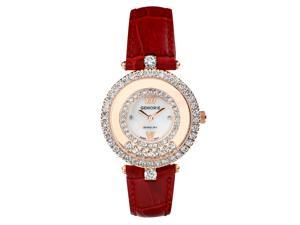 Red Crystal Genuine Leather Watch in Stainless Steel Plated with 18k Rose Gold (128942)