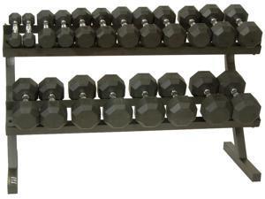 VTX Two Tier Dumbbell Rack Set with 10 Pairs of VTX Rubber Encased Dumbbells