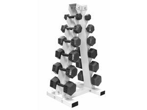 A Frame Dumbbell Rack with 6 pairs of cast iron dumbbells