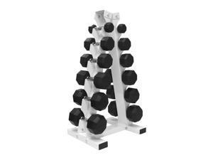 A Frame Dumbbell Rack with 6 pairs of VTX rubber encased dumbbells