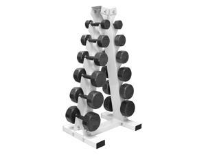 A Frame Dumbbell Rack with 6 pairs of VTX 12 sided cast iron dumbbells