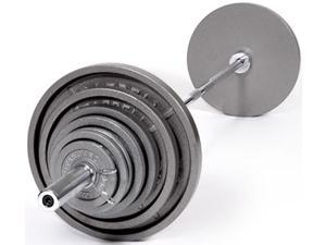 USA Sports 400lb Grey Olympic Weight Set with Chrome Bar