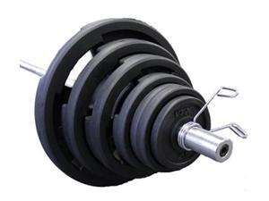 VTX 400lb Rubber Olympic Grip Plate Weight Set with Chrome Bar
