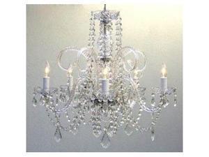 "Crystal Chandelier Chandeliers Lighting H25"" x W24"" SWAG PLUG IN-CHANDELIER W..."