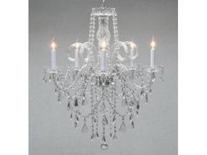 """Authentic All Crystal Chandelier Chandeliers H30"""" X W24"""" SWAG PLUG IN-CHANDEL..."""