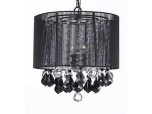 """Crystal Chandelier Chandeliers With Large Black Shade, Jet Black Crystal Pendants and Clear Crystal 40MM Balls! H15"""" x W15"""""""