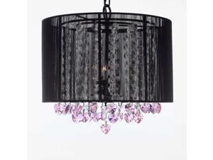 """Crystal Chandelier Chandeliers With Large Black Shade and Pink Crystal Hearts! H15"""" x W15"""" - Perfect for Kids' and Girls Bedrooms!"""