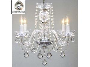 """Murano Venetian Style All Crystal Chandelier H17"""" x W17"""" SWAG PLUG IN-CHANDELIER W/ 14' FEET OF HANGING CHAIN AND WIRE!"""