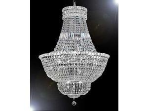 "Swarovski Crystal Trimmed Chandelier! FRENCH EMPIRE CRYSTAL CHANDELIER LIGHTING H36"" W30"""