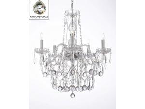 ALL CRYSTAL CHANDELIER LIGHTING CHANDELIERS W/ 40MM CRYSTAL BALLS & CRYSTAL ICICLES!