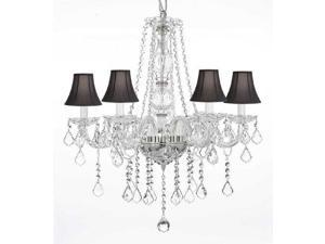 "Crystal Chandelier Chandeliers Lighting with Black Shades! H25"" x W24"""