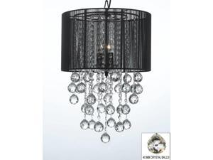 """Crystal Chandelier Chandeliers With Large Black Shade & Balls ! H24"""" x W15"""""""