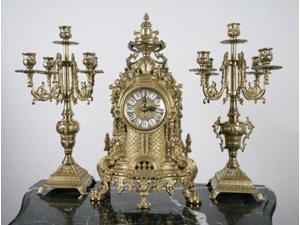 Solid Brass Baroque Mantel Clock & Candelabra Set Made in Italy!