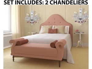 """Set of 2 - Chandeliers Lighting W/ Crystal Pink Hearts! H 17"""" W17"""" - Perfect For Kid's And Girls Bedroom!"""