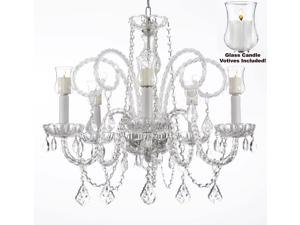 """Crystal Chandelier Chandeliers Lighting with Candle Votives H25"""" x W24"""""""
