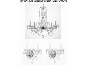 3pc Lighting Set - New! Swarovski Crystal Trimmed Authentic All Crystal Murano Venetian Style Crystal Chandelier and 2 Wall Sconces