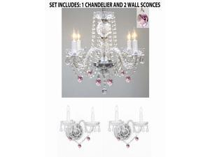 3pc Lighting Set - Crystal Chandelier and 2 Wall Sconces W/ Pink Crystal Hearts!