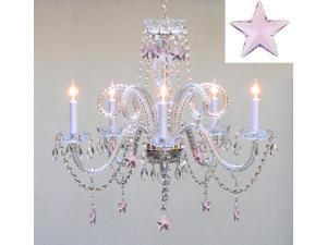"Empress Crystal(TM) Chandelier Lighting with Pink Crystal Stars H25"" X W24"" - Nursery, Kids, Girls Bedrooms, Kitchen, Etc!"
