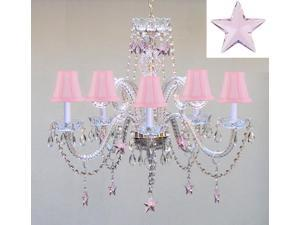 "Empress Crystal(TM) Chandelier Lighting with Pink Crystal Stars H25"" X W24"" - Nursery, Kids, Girls Bedrooms, Kitchen, Etc!"