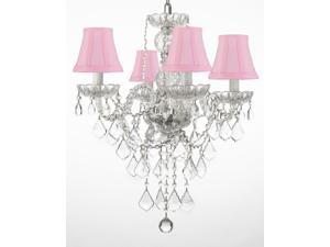 "New! Authentic All Crystal Chandelier Chandeliers Lighting With Pink Shades H22"" x W17"""