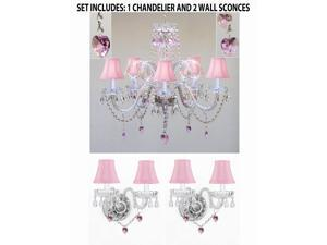 3pc Lighting Set - Crystal Chandelier and 2 Wall Sconces W/ Pink Crystal Hearts and Pink Shades!