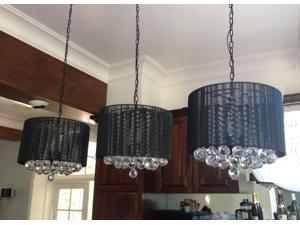 """**SET OF 3*** Crystal Chandelier Chandeliers With Large Black Shade & Balls ! H15"""" x W15"""" **SET OF 3***"""