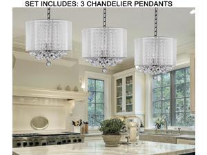 "***SET OF 3*** Crystal Chandelier Chandeliers With Large White Shade & Balls ! H15"" x W15"""
