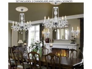 4pc Lighting Set - New! Authentic All Crystal Murano Venetian Style Crystal, 2 Chandeliers and 2 Wall Sconces