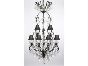 "WROUGHT IRON CRYSTAL EMPRESS CRYSTAL (TM) CHANDELIER CHANDELIERS LIGHTING WITH BLACK SHADES H50"" W30"""