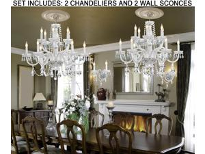 """4pc Lighting Set - 2 Crystal Chandeliers H27"""" X W32"""" and 2 Wall Sconces"""