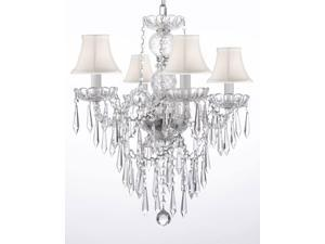 """New! Authentic All Crystal Chandelier Chandeliers Lighting W/ Crystal Icicles! And - With Shades! H22"""" x W17"""""""