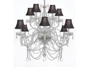 MURANO VENETIAN STYLE ALL-CRYSTAL CHANDELIER WITH BLACK SHADES!