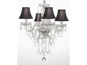 "New! Authentic All Crystal Chandelier Chandeliers Lighting With Black Shades H22"" x W17"""